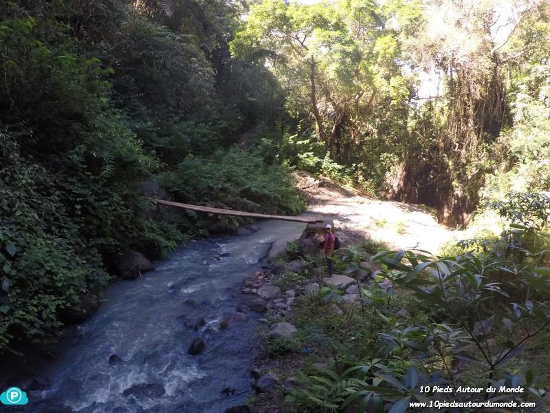 Pont de bambou à traverser